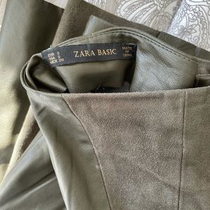 Zara mid length leather and suede skirt
